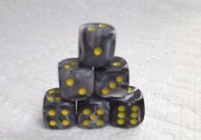 DICE 12mm *6* CHX VORTEX BLACK w/YELLOW PIPS - STREET-WISE IN SMALL SIZE!