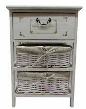 Stylish 3 Wooden Wicker Drawers Storage Unit Bathroom Bedroom Side+End Table