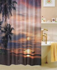 Sunset Beach  LUXURY  FABRIC SHOWER CURTAIN,