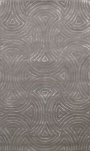 Contemporary Abstract Wool/ Silk Modern Indian Area Rug Hand-tufted Carpet 4x6