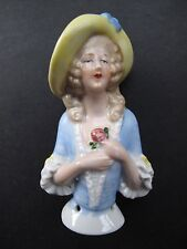 VINTAGE CERAMIC HALF DOLL – blue bodice & yellow hat