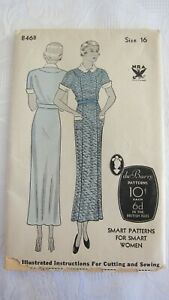 Antique 1930's du Barry Womens Dress Sewing Pattern 846B Size16 Complete, UNUSED