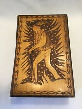 Wood Hand Carved Sewing Box-Alpine Figure With Cane-Austria/German/Swiss.  *1325