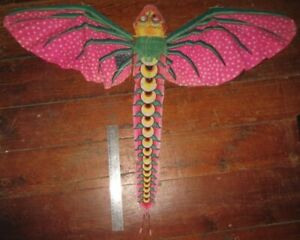 """Old Unusual Colorful 28"""" Long Paper Hanging Winged Dragon Kite w/ Wood Framework"""