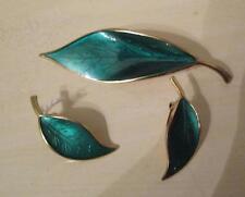 Vintage David Anderson Sterling & Enamel Leaf Pin & Earrings