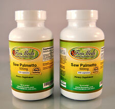 Saw Palmetto 500mg, Prostrate aid, endurance, Made in USA - 200 capsules (2x100)