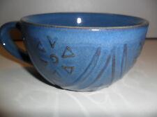 Pier 1 One Blue Jumbo Cup Mug Embossed Flower Design Slate Smokey Blue 12 Ounce