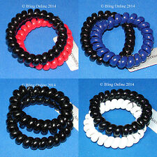 GIRLS 2pc SET TELEPHONE COILED COIL CORD SCRUNCHIE HAIR ELASTICS BANDS PONYTAIL