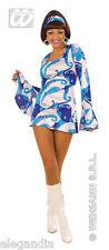 Fasching Party Kostüm 70er Jahre Kleid Hippie Flower Power blau/weiss Gr. M