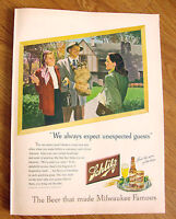 1947 Schlitz Beer Ad  We Always Expect Unexpected Guests