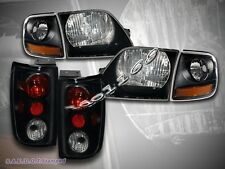 1997-02 FORD EXPEDITION HEADLIGHTS + CORNER LIGHTS + DARK SMOKE TAIL LIGHTS