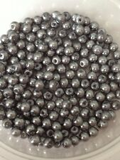 4mm Glass faux Pearls - Steel Grey (200 beads)