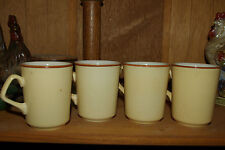 4 Vintage Homer Laughlin  Cream/ beige Coffee Mugs, Embossed logo On Bottom