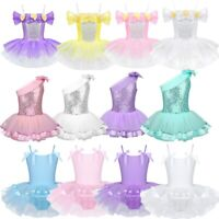 Kids Girls Ballet Dance Leotard Tutu Dress Gymnastics Sequined Dancewear Costume