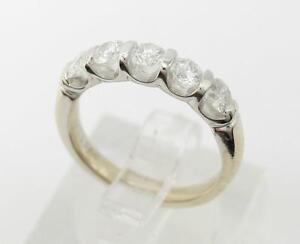 14K White Gold Round Diamond Anniversary Ring 0.75ctw 3.4g Size 4.5