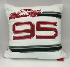 "Disney Cars Lightning McQueen #95 Racing Throw Pillow 16"" Square White Red Black"