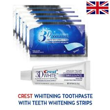28 3D WHITE TEETH WHITENING STRIPS + CREST3D TOOTHPASTE 2 WEEKS SUPPLY
