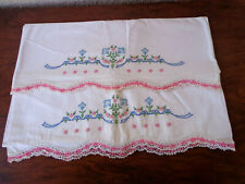 PR Vintage Cotton Pillowcases Hand Embroidered Flowers Pink Crochet Lace Edge