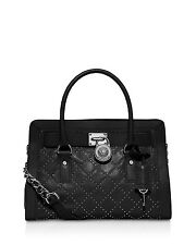 Michael Kors Microstud Hamilton Quilted Leather East West EW Satchel (Black)