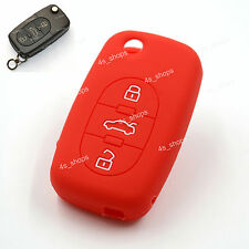 3 Button Red Silicone Cover Flip Key Case Shell Fob For AUDI A2 TT A4 A6 Quattro
