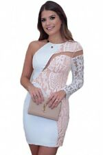 NEW WHITE LACE CUTOUT ONE SHOULDER BOUTIQUE DRESS SIZE 8-10 ** FREE POSTAGE**
