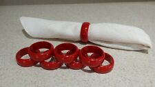New listing 8 Red Acrylic Plastic Round Napkin Ring Holders Valentines Vgc