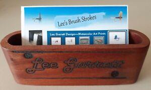 Personalized Black Walnut Business Card Holder Laser Engraved  Fishing Poles