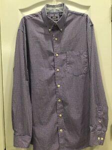 IZOD Mens Dress Shirt Size XLT Blue Pink Premium Essentials 180