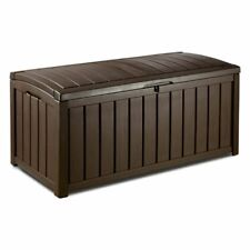 Keter 212746 Glenwood Patio Outdoor 101 Gallon Resin Plastic Deck Box in Brown