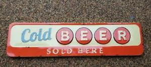 """NWT RAZ 36.5"""" X 9"""" Retro Distressed Metal COLD BEER - SOLD HERE Wall Bar Sign"""