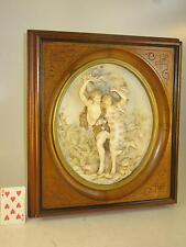 Antique Porcelain Plaque European, German Man & Lady Dancing Figurine Walnut