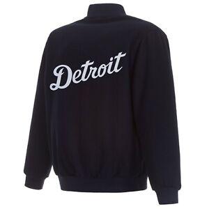 MLB Detroit Tigers JH  Design Wool Reversible Jacket  Navy Embroidered Logos