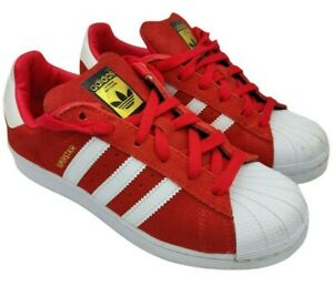 Adidas superstar womens red suede retro trainers size 4 uk rrp 70