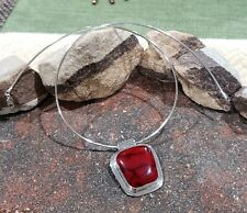 Vintage Red Jasper Sterling Silver 925 ATI Mexico Pendant Omega Necklace