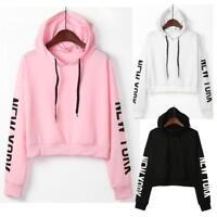 Women Long Sleeve Crop Hoodie Sweatshirt Sweater Hooded Pullover Tops Jumper CA