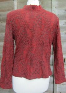 Royal Spencer-Ladies Vintage Red & Grey Stretch Top With Zip Back Detail Size M