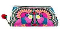 Peacock Wallet Handmade Tribal Clutch Embroidered Hmong Hobo Zip Pom Pom Purse
