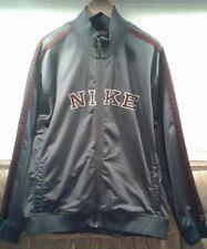 Nike Mens XXL Track Warm Up Jacket NIKE on Front Full Zip Gray Burgundy Stripes