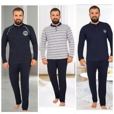 Herren Große Größen Pyjama Schlafanzug Baumwolle Lang 2-Teiler Set R-49