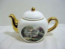 Thomas Kinkade Teapot Vase Home is Where the Heart Is 1980 Teleflora Gifts
