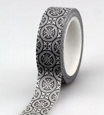 TOP Black and White Set Washi Tape Scrapbooking Masking Tape Adhesive Tapes 10m