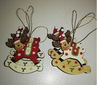 Set of 6 Mini Rocking Reindeer Christmas Tree Decorations Xmas