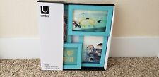 Umbra 4 Photo Contemporary Aqua Multi Framed Wall Hang or Table Top -11.75x11.75