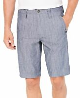 INC NEW Chambray Navy Blue Mens Size 33 Regular Fit Flat Front Shorts $49 #208