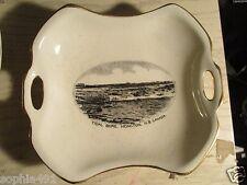 Lot of 2 Vintage Souvenir Dishes Tidal Bore, Moncton, N. B. Canada- Gold Trim