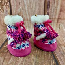 Build A Bear Workshop Knitted Boots With Tassels And Fur Then Suede BRAND NEW