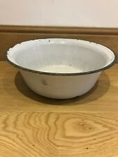 Small Old Vintage White Enamel Laundry/Bowl/Wash Tub - Rustic Wedding Prop,Retro