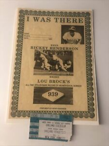 Rickey Henderson I Was There Plus Ticket Stub