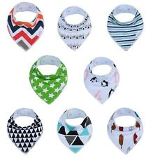 Baby Bandana Drool Bibs 8-Pack Unisex Set for Drooling and Teething