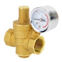 Brass Water Pressure Valves Regulators Adjustable Relief Valve With Gauge Meters